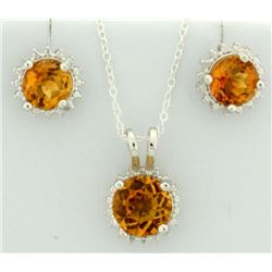 Citrine Sunburst Earring and Pendant SET in Sterling Silver