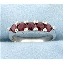 Natural Ruby and Diamond Band Ring