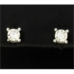 Diamond Stud Earrings in Sterling Silver
