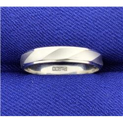 Platinum Band Wedding Ring with Unique Twist Design