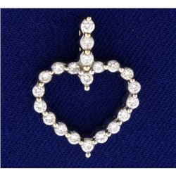 1/2 ct Diamond Heart Pendant in 18k Gold