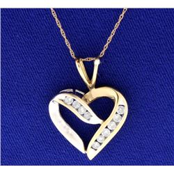 1/2 ct TW Diamond Heart Pendant with Chain