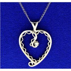14K Diamond Heart Pendant and Chain