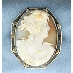 Vintage 14k White Gold Cameo Pin