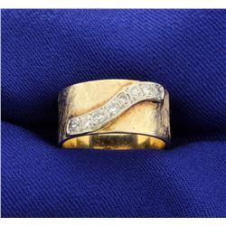 Wide Band Ring with Diamonds