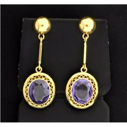18k 10 ct TW Amethyst Dangle Earrings
