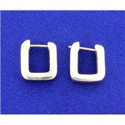 """""""U"""" Shaped White Gold Earrings"""