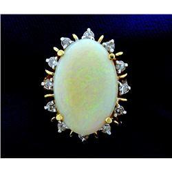 Large Opal & Diamond Ring
