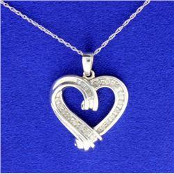 1/4 ct TW Diamond Heart Pendant with Chain