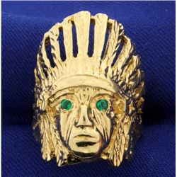 Indian Chief Emerald Ring