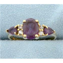 Natural Amethyst and Diamond Ring