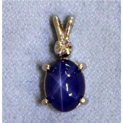 Star Sapphire and Diamond Pendant