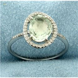 Fancy Cut Green Amethyst and Diamond Ring