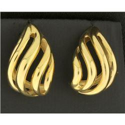 Designer Tear Shaped 14k Gold Earrings