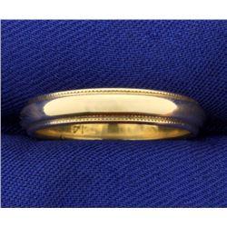Beaded Edge Wedding Band Ring in 14k Gold