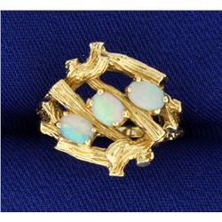 Tree or Natured Themed Opal Ring in 14k Gold