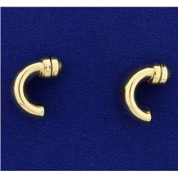 Italian Made 14k Gold Crescent Shaped Earrings With Magnetic Back for Non Pierced Ears