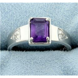 Sleek 1ct Amethyst Ring with Diamonds