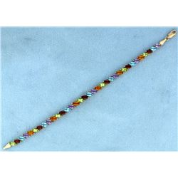 10ct TW Citrine, Amethyst, Garnet, and Blue Topaz Bracelet
