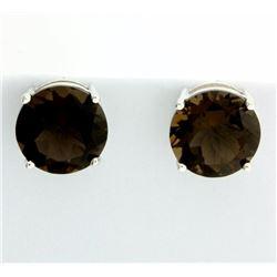 Huge Smokey Topaz Stud Earrings