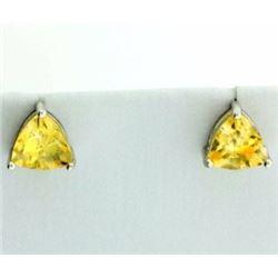 6mm Trillion Cut Citrine Stud Earrings