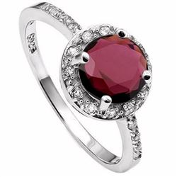 Garnet Halo Inspired Ring in Sterling Silver