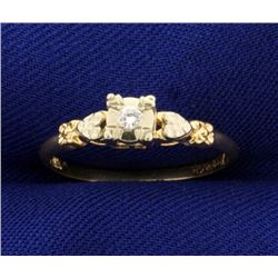 Diamond Heart Promise Ring in 14k Gold