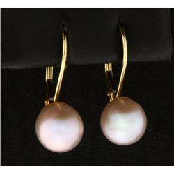 Lavender Pearl Earrings in 14k Gold