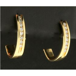 Diamond Half Hoop Earrings in 14k Gold