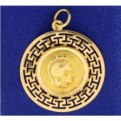 Parthenon Greek Warrior Pendant in 14k Gold