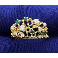 Designer Natural Emerald and Diamond Band Ring