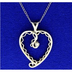 14K Diamond Heart Pendant and Chain