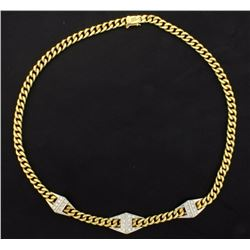 Italian Made 18K 15 1/2 Inch Diamond Link Necklace