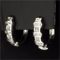 1.5ct TW Diamond Hoop Earrings