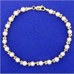 Pearl & Diamond Line Bracelet