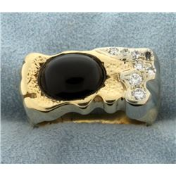 Large Cabochon Onyx and Diamond Ring