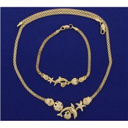 Nautical Sealife Bracelet and Necklace Set