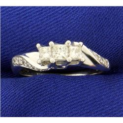 1/2ct TW Princess cut 3 Stone Diamond Ring