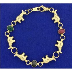 Vintage Italian Made Emerald, Ruby, and Sapphire Elephant Bracelet