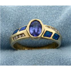 Tanzanite, Black Opal, and Diamond Ring