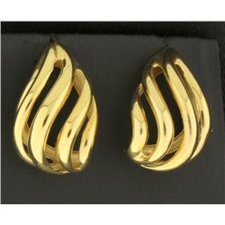 Designer Tear Shaped 14k Gold Earrings