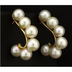 Betsy Fuller Designer Pearl Earrings in 14k Gold