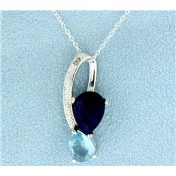 Sapphire and Blue Topaz Pendant with Diamond and Chain
