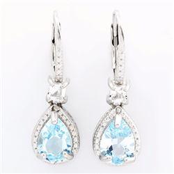 Blue Topaz 2.2CTW Dangle Earrings in Sterling Silver