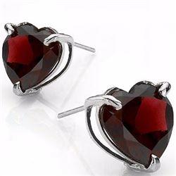 Garnet Heart Stud Earrings 6MM in Sterling Silver