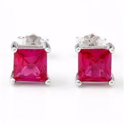 Lab Ruby Princess Cut Square Stud Earrings 5MM in Sterling Silver