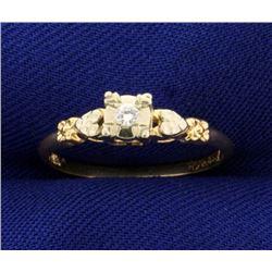 Diamond Heart Promise Ring in 14k Gold
