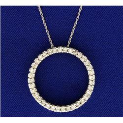 1ct TW Circle Diamond Pendant with Chain