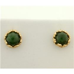 Cabochon Jade Stud Earrings