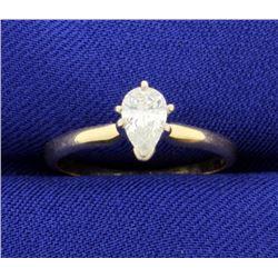 1/2 Carat Pear Shape Solitaire Diamond Ring